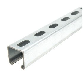 Strut Channel - Slotted: 10 ft Overall Lg, Steel, 1 5/8 in Overall Ht, 1 5/8 in Overall Wd, 12 ga Gauge, 9/16 in Slot Wd