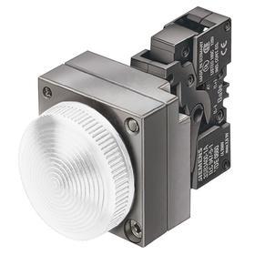 Siemens Pilot Light Complete Unit: 24V AC/DC, Brass, Zinc Die Cast, White, Includes Bulb, For LED