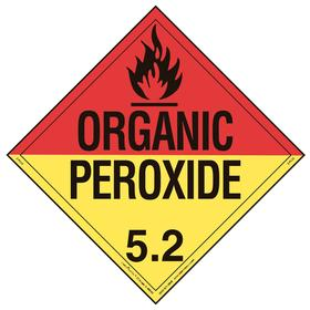 DOT Vehicle Placard: Organic Peroxide 5.2, 10 3/4 in Overall Ht, 14 1/3 in Overall Wd, Vinyl, Slide-In