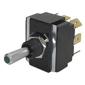 Illuminated Toggle Switch: 3 Positions, 15 A @ 125V AC Switch Rating, 2 Poles, On-Off-On, DPDT, Maintained