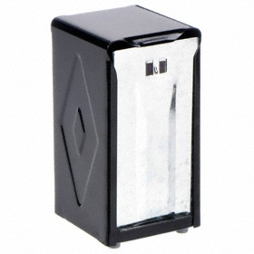 San Jamar Napkin Dispenser: For Interfold, 150 Napkins Capacity, 7 1/2 in Ht, 3 3/4 in Wd, 4 in Dp, Black, Countertop