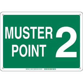 Brady Emergency Assembly Point Sign: Muster Point 2, 10 in Overall Ht, 14 in Overall Wd, Plastic, Mounting Holes