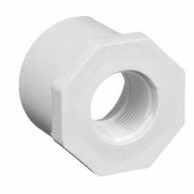 PVC Pipe Bushing: White, 40 Schedule, Spigot, NPT, 3/4 Pipe Size (Port 1), Male, 1/2 Pipe Size (Port 2), Female