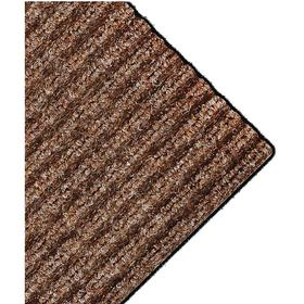Entrance Mat: Skid Resistant, Rectangle, 4 ft Wd, 60 ft Lg, 3/8 in Thickness, Brown, Ribbed, Polypropylene, Indoor Mats