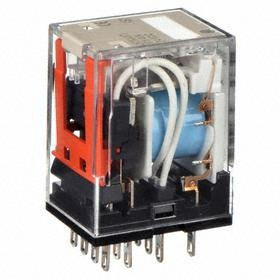 Omron Socket Mount Relay: 4PDT Pole-Throw Configuration, 14 Terminals, 14-Pin Terminal, 24V DC Control Volt, Blade Terminals, LED