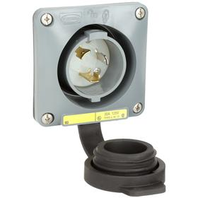 Hubbell NEMA Turn-Locking Male Receptacles' General Use: 2 Poles, 3 Contacts, L5-30 NEMA Configuration, 125V AC, Gray