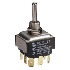 General Duty Toggle Switch: Non-Illuminated, 3 Positions, 20 A @ 125V AC Switch Rating, 3 Poles, On-Off-On, 3PDT