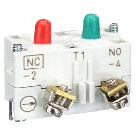 Eaton Push Button Contact Block: 10 A at 660V AC/DC Contact Rating, 1NC/1NO Pole-Throw Configuration, Momentary, Black