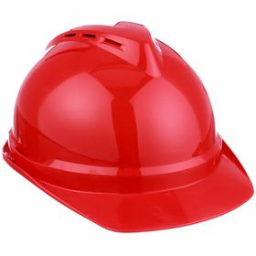 MSA Ventilated Front Brim Hard Hat: ANSI Impact Type Rating I, Red, Ratchet, ANSI Electrical Class Rating C, 4-Point