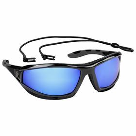 MCR Safety Glasses: Blue Mirror, Full Frame, Scratch Resistant, Black, ANSI Z87+, Polycarbonate, Adj Neck Cord