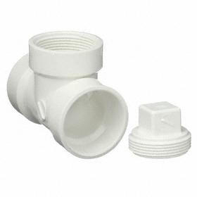 PVC Pipe Tee: Tee Fitting Type, Hub, NPT, 3 Pipe Size (Port 1), 3 Pipe Size (Port 2), White, 3 Pipe Size, Hub/NPT, DWV