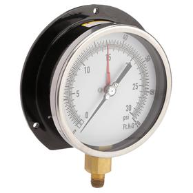 Altitude Pressure Gauge: Bottom, 1/4 in Gauge Port Size, MNPT Gauge Connection Type, 4 1/2 in Dial Dia, ft H2O/psi, +/-0.50% Accuracy