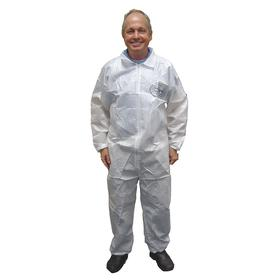 Collared Disposable Coverall: L Size, BodyFilter 95+, White, Zipper, Elastic, Long Sleeve Lg Type, 0 Pockets, 25 PK