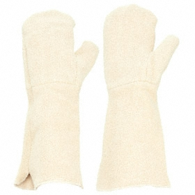 Heat-Resistant Glove: Mitten Glove, Left/Right Pr, 450° F Max Temp, 17 in Glove Lg, Straight Cuff, Terry Cloth, 1 PR