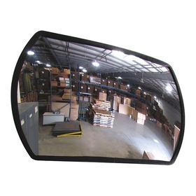 Convex Mirror: Acrylic, Plastic, 24 in x 36 in Wd x Ht, 36 ft Viewing Distance, Vinyl Coated Aluminum, Indoor & Outdoor