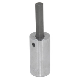 Standard Socket Bit: Metric, Hex, 3/8 in Drive Size, For 9 mm Fastener Size, 2 in Overall Lg, Chrome, Steel