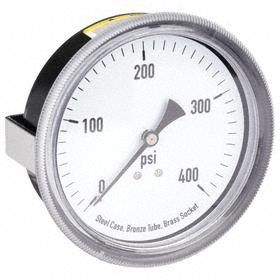 Analog Pressure Gauge: Back, 1/4 in Gauge Port Size, NPT Gauge Connection Type, 3 1/2 in Dial Dia, psi, 0 psi Min Primary Pressure, +/-3-2-3% Accuracy