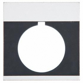GE Blank Legend Plate: 30 mm Compatible Panel Cutout Dia, Rectangular, Black/Silver, 1.93 in Overall Wd, Heavy-Duty