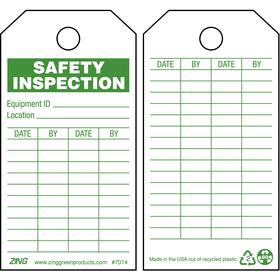 Zing Inspection Tag: 5 3/4 in Overall Ht, 3 in Overall Wd, Plastic, Safety Inspection, Date By, 0.5 in Hole Dia, 10 PK
