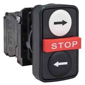 Schneider Electric I/O Push Button Switch: 3 Operators, 22 mm Panel Cutout Dia, Non-Illuminated, Black/White/Red