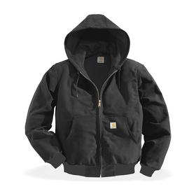 Carhartt Hooded Jacket: Ring Spun Cotton Duck, Black, Zipper, Attached Hood, M Size, Men, Carpentry/Cold Weather