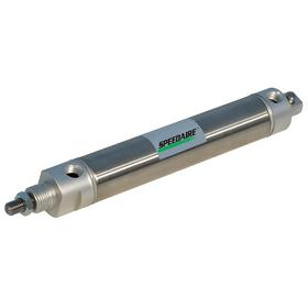 Roundbody Air Cylinder: 3/4 in Bore Dia, Double Acting, No Cushion, Stainless Steel, 8 in Stroke Lg, 1/4 in Rod Dia, 12 17/32 in Overall Lg