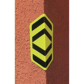 Incom Traffic Sign: 6 in Overall Ht, 3 1/2 in Overall Wd, Aluminum, Mounting Holes, Chevron, Graphic, Safety Information, Lime