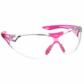 Elvex Safety Glasses: Clear, Wraparound Frame, Scratch Resistant, Pink, ANSI Z87.1-2010 (+)/CE EN-166, Polycarbonate