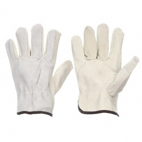 Wells Lamont Work Glove: Leather Drivers Glove, Cowhide, Shirred Cuff, Smooth, Gray, S Size, Std, Unlined, 1 PR