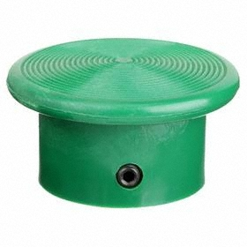 Schneider Electric Push Button Mushroom Head: 30 mm Compatible Panel Cutout Dia, Plastic, Green, Mushroom Compatible Operator, Screw On