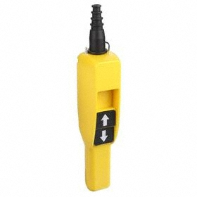 Pendant Push Button Station: 2 Operators, Momentary, Up Symbol-Down Symbol, Black, 2.08 in Overall Wd