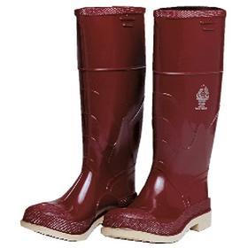 Abrasion- & Cut-Resistant Protective Rubber Boot: Chemical Resistant, D Shoe Wd, 9 Men's Size, Steel, Brick Red, 1 PR