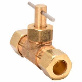 Needle Valve: Straight, Brass, Compression, 150 psi Max Water Pressure, Gold/Sliver