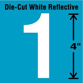 Reflective Number Label: 4 in Character Ht, White, Blue, 1 Character, Vinyl, 5 PK