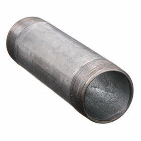 Rigid Conduit Nipple: 1 1/2 Trade Size, 5 in Overall Lg, Galvanized Steel, Silver, Male, Non-Insulated, Impact Resistant