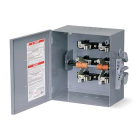 Schneider Electric Heavy Duty Safety Disconnect Switch: Three Phase, 3 Poles, Steel, 200 A @ 240V AC Switch Rating, Indoor