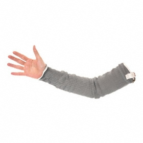 Wells Lamont Cut-Resistant Sleeve: Gen Purpose, ANSI Cut-Resist Level 4, 22 in Lg, Stainless Steel/HPPE Sleeve, Gray