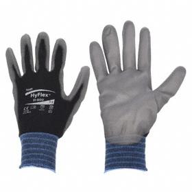 Ansell HyFlex Work Glove: Coated Fabric Glove, Palm Dip, Polyurethane, Knit Cuff, Smooth, Black/Gray, XS Size, Std, 1 PR