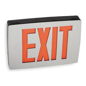 Acuity Lithonia Lighted Exit Sign: 2 Faces, Directional Indicators, Red, 8 1/4 in Overall Ht, 11 3/4 in Overall Lg, Gray