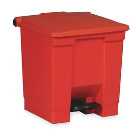 Rubbermaid Hands-Free Trash Container: 18 gal Capacity, Red, Plastic, 19 1/2 in Overall Lg, 16 in Overall Wd, Foot Pedal