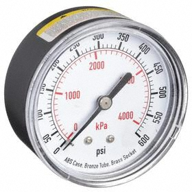 Test Pressure Gauge: Back, 1/4 in Gauge Port Size, NPT Gauge Connection Type, 2 1/2 in Dial Dia, psi, kPa, 0 psi Min Primary Pressure