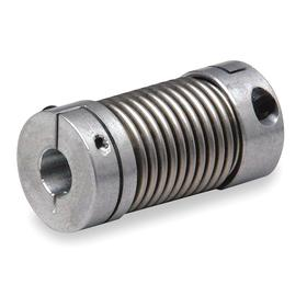 Lovejoy Bellows Shaft Coupling: Inch, Aluminum, Stainless Steel, 3/16 in Side A Bore Dia, 1/4 in Side B Bore Dia, Clamp