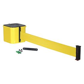 Visiontron Retractable Belt Barrier: Solid, Polycarbonate, Indoor & Outdoor, 25 ft Belt Lg, Yellow, Fixed or Removable