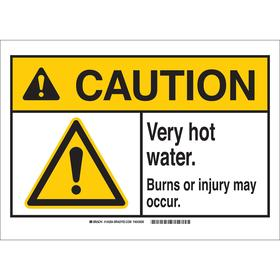 Brady Hot Temperature Sign: 7 in Overall Ht, 10 in Overall Wd, Plastic, Mounting Holes, English, Caution, Text & Graphic
