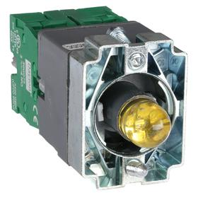 Lamp Module & Contact Block: For Chrome Operators, 1.57 in Overall Lg, Yellow, 2 Haz Material Indicator, LED, Includes Bulb