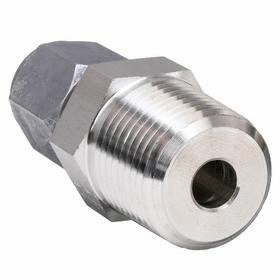 Parker Hannifin Bite Type Compression Tube Connector: 316 Material Grade, Stainless Steel, 1/4 in Port 1 Tube Size, NPTF, Male