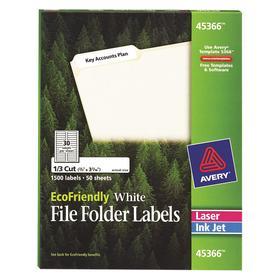 File Folder Label: 2/3 in Label Ht, 3 7/16 in Label Wd, White, 30 Labels per Sheet, 50 Sheets, 1500 Labels, 50 PK