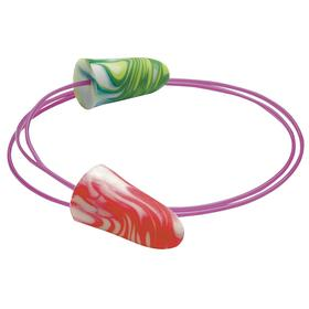 Corded Earplugs: Tapered, Disposable, 33 dB Noise Reduction Rating, Polyurethane, Poly Bag, Multicolor, 100 PK