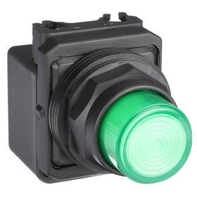 Pilot Light: 24V AC, 2.18 in Overall Lg, Full Volt, Green, Operator Interface, 50000 hr Avg Life, Plastic, Black, GREEN, Pressure Plate