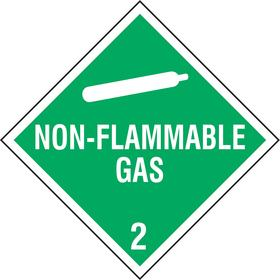 Stranco DOT Vehicle Placard: Non-Flammable Gas, 10 3/4 in Overall Ht, 10 3/4 in Overall Wd, Plastic, Green